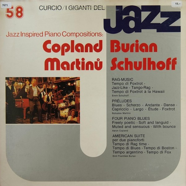 Copland / Burian / Martinu / Schulhoff: Jazz Inspired Piano Compositions