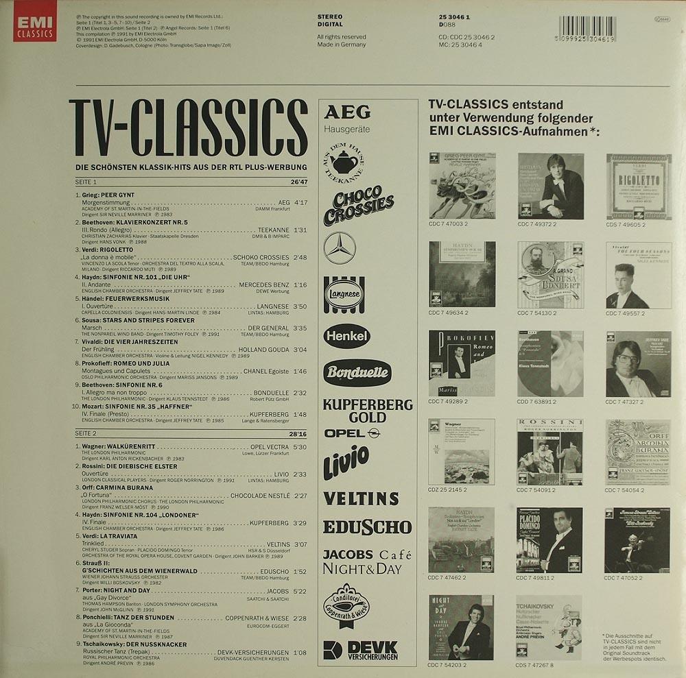Various: TV-Classics Vol.1 - Klassik-Hits RTL-Plus Werbung ...