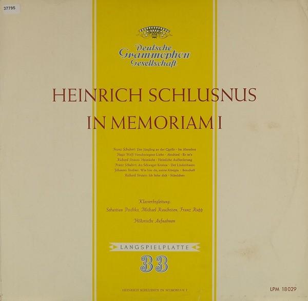 Schlusnus, Heinrich: In Memoriam